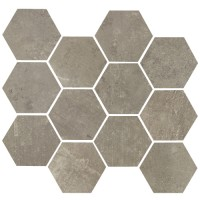 "Concrete - Argento 3.25"" Hex on 10""x11.50"" Mesh Sheet Matte"