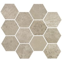 "Concrete - Ash Grey 3.25"" Hex on 10""x11.50"" Mesh Sheet Matte"