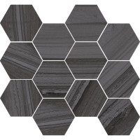 "Lakestone - Pewter 3.25"" Hex Mosaic on 10""x11.50"""