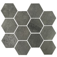 "Concrete - Gun Powder 3.25"" Hex on 10""x11.50"" Mesh Sheet Matte"