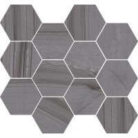 "Lakestone - Grigio 3.25"" Hex Mosaic on 10""x11.50"""