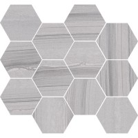 "Lakestone - Silver 3.25"" Hex Mosaic on 10""x11.50"""