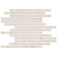 "Limestone - Bianco Subway Mosaic on 12""x12"""