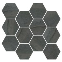 "Nova - Dark 3.25"" Hex Mosaic Matte & Polished Blend"