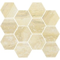 "Nova - Gold 3.25"" Hex Mosaic Matte & Polished Blend"