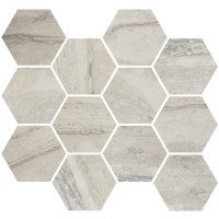 "Nova - Silver 3.25"" Hex Mosaic Matte & Polished Blend"