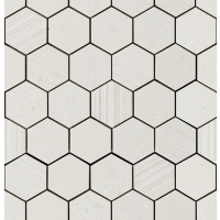 "Silver Grain - White Hex 2.37"" Hex. Mos. Mix 12""x12.5"""