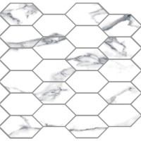 "Statuario Extra 2""x4"" Diamond Mosaic - Matte/Polished Blend"