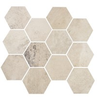 "Concrete - White Cloud 3.25"" Hex on 10""x11.50"" Mesh Sheet Matte"
