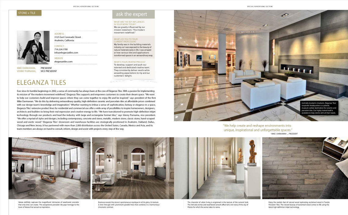 Eleganza Tiles Feautured in Luxe Magazine Layout